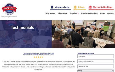 Screenshot of Testimonials Page thebusinessclubnorthants.co.uk - Testimonials » The Business Club Northants - captured Sept. 20, 2018