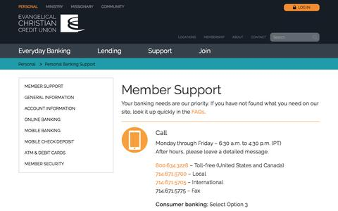Screenshot of Support Page eccu.org - Personal Banking Support | Evangelical Christian Credit Union - captured July 9, 2016