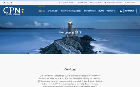 Screenshot of About Page cpnim.com - CPN Investment Management a history – CPN Investment Management - captured Oct. 21, 2018