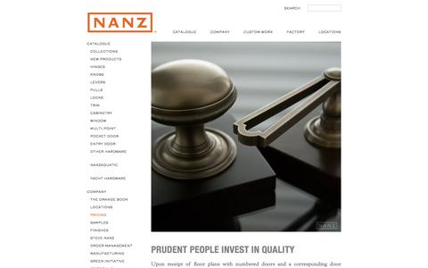 Screenshot of Pricing Page nanz.com - Pricing | The Nanz Company - captured Nov. 15, 2017