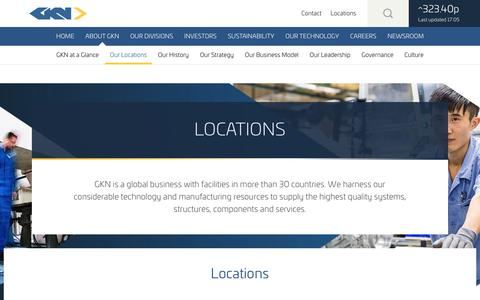 Screenshot of Locations Page gkn.com - GKN Locations | About GKN | GKN Group - captured Nov. 6, 2017