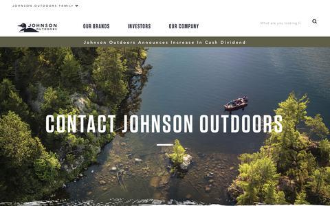 Screenshot of Contact Page johnsonoutdoors.com - Contact Johnson Outdoors   Johnson Outdoors - captured Nov. 6, 2018