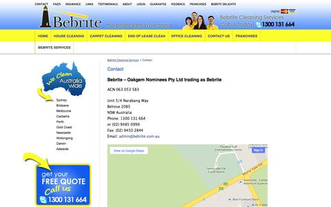 Screenshot of Contact Page bebrite.com.au - Contact Bebrite Cleaning Services | Sydney, Canberra, Brisbane - captured Oct. 5, 2014