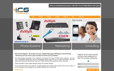 Screenshot of Home Page icstech.com.au - Phone systems, digital signage, wireless bridging and more - ICS Technologies, Brisbane - captured Sept. 25, 2014