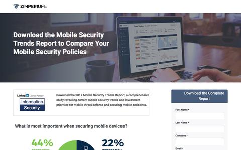 Screenshot of Landing Page zimperium.com - 2017 Mobile Security Trends Report - captured May 5, 2018