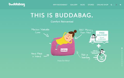 Screenshot of Home Page buddabag.com - All Bag No Beans. 100% Memory Foam Filled Furniture - captured Jan. 24, 2015