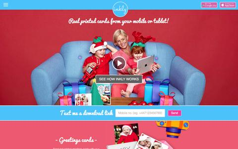 Screenshot of Home Page inkly.com - Inkly - Personalised Greetings Cards | Postcards | Prints | Photo Editor - captured Dec. 1, 2015