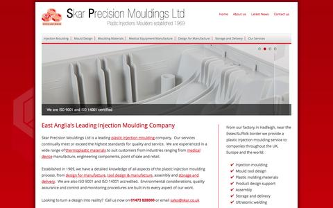 Screenshot of Home Page skar.co.uk - Precision Moulding services for a wide range of industries - captured Oct. 6, 2014