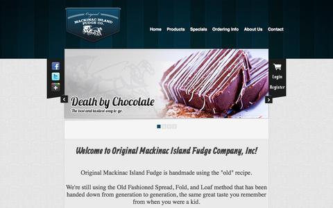 Screenshot of Home Page originalmackinacislandfudgeco.com - Original Mackinac Island Fudge Co - captured Oct. 7, 2014