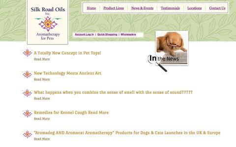 Screenshot of Press Page silkroadoils.com - In The News - captured Feb. 4, 2016