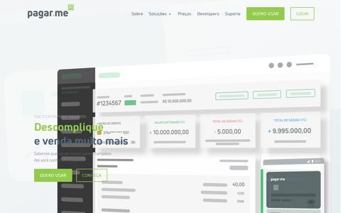Screenshot of Home Page pagar.me - Pagar.me - Pagamentos online e gestão financeira - captured May 14, 2018