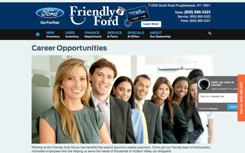 Screenshot of Jobs Page friendlyfordny.com - Friendly Ford | New Ford dealership in Poughkeepsie, NY 12601 - captured Oct. 14, 2017
