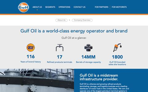 Screenshot of About Page gulfoil.com - Company Overview | Gulf Oil - captured July 25, 2018