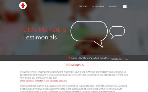 Screenshot of Testimonials Page littlemarketing.com.au - Small business marketing consultant testimonials sydney | small business marketing testimonials sydney | small business marketing testimonials sydney | marketing that works testimonials sydney - captured July 15, 2016