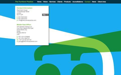 Screenshot of Contact Page thefurniturepractice.com - Contact | The Furniture Practice - captured Oct. 7, 2014