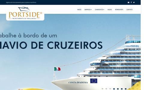 Screenshot of Home Page portsideagencia.com.br - Portside Agência   Recrutamento para cruzeiros maritímos - captured Sept. 18, 2015