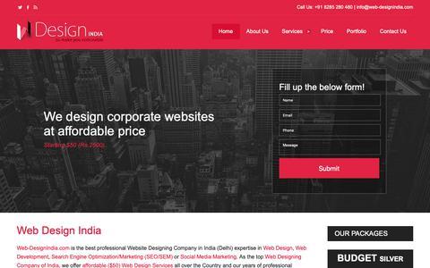 Screenshot of Home Page web-designindia.com - Web Design India, Website Designing Company Delhi Gurgaon, Website Designer India - captured Oct. 19, 2018