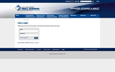 Screenshot of Login Page airforcesmallbiz.org - User Login | U.S. Air Force Small Business - captured Oct. 4, 2014