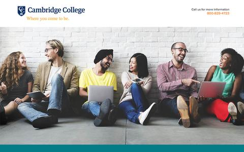 Screenshot of Landing Page cambridgecollege.edu - Get the education you need to succeed in tomorrow's careers! | Cambridge College - captured April 15, 2017