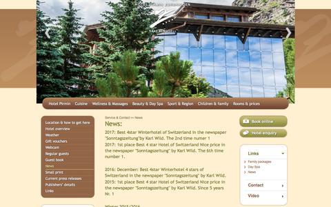 Screenshot of Press Page wellnesshotel-zurbriggen.ch - News - Service & Contact - Hotel Saas Almagell Pirmin Zurbriggen - captured March 5, 2018