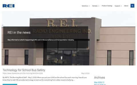 Screenshot of Press Page radioeng.com - News - REI - captured Oct. 18, 2018