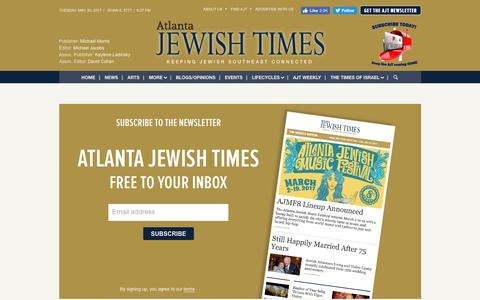 Screenshot of Signup Page timesofisrael.com - Sign up to Atlanta Jewish Times newsletter | Atlanta Jewish Times - captured May 31, 2017