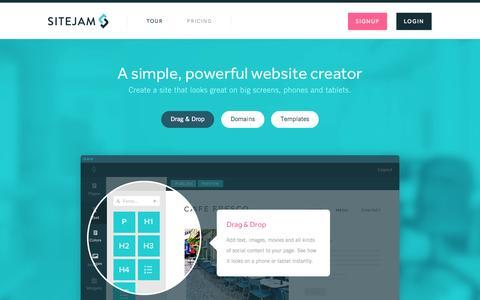 Screenshot of Home Page sitejam.com - Create a website - Website builder - How to create a website - captured Sept. 19, 2014