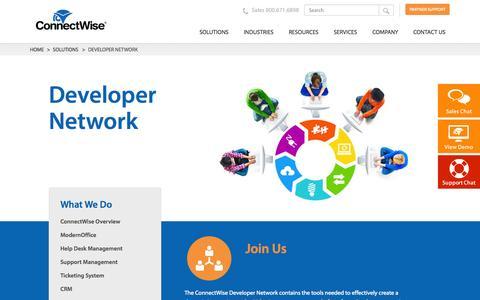 Screenshot of Developers Page connectwise.com - Developer Network - captured Oct. 28, 2014