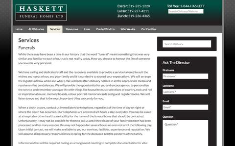 Screenshot of Services Page haskettfh.com - Funeral Services -Haskett Funeral Homes | Exeter, Lucan & Zurich Ontario - captured Sept. 27, 2018