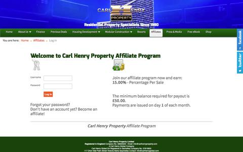Screenshot of Login Page carlhenryproperty.com - Welcome to Carl Henry Property Affiliate Program - captured Dec. 1, 2017