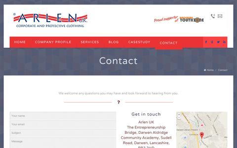 Screenshot of Contact Page arlenuk.co.uk - Contact | Arlen UKArlen UK - captured Oct. 4, 2014
