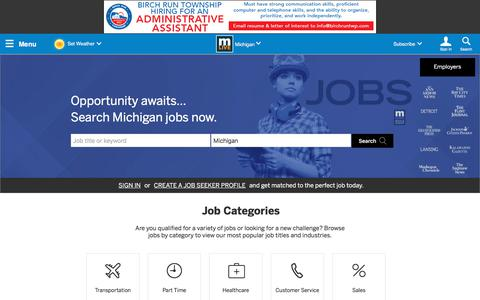 Screenshot of Jobs Page mlive.com - Michigan Job Search and Employment Opportunities – MLive.com - captured Sept. 21, 2018