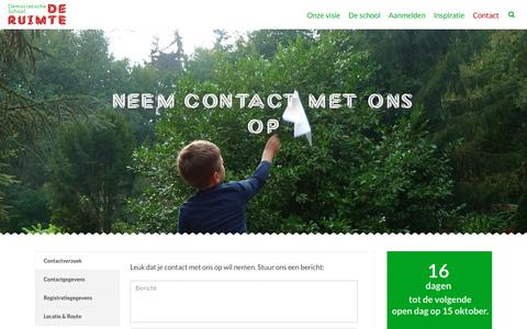 Screenshot of Contact Page deruimtesoest.nl - Contact - Democratische school De Ruimte Soest - captured Sept. 29, 2018
