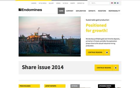 Screenshot of Home Page endomines.com - Home - Endomines AB - captured Oct. 2, 2014