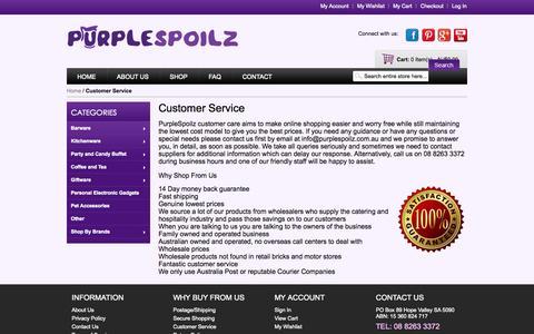 Screenshot of Support Page purplespoilz.com.au - Customer Service - captured Sept. 30, 2014