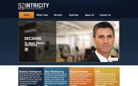 Screenshot of Home Page Privacy Page intricity.com - Home | Intricity, LLC - captured Sept. 30, 2014