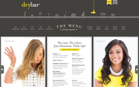 Screenshot of Menu Page thedrybar.com - Drybar Menu — The Looks - captured June 16, 2015