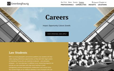 Screenshot of Jobs Page gtlaw.com - Careers | Greenberg Traurig LLP - captured Sept. 22, 2018