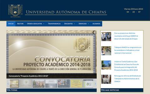 Screenshot of Home Page unach.mx - UNACH - captured Jan. 23, 2015