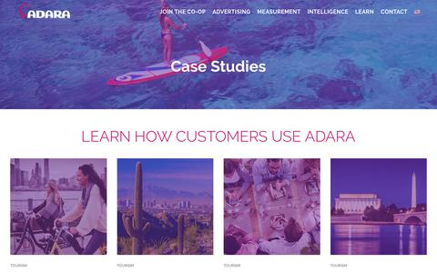 Screenshot of Case Studies Page adara.com - Read our Case Studies to learn how customers use ADARA - captured Sept. 29, 2018