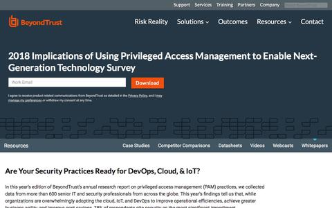 Screenshot of Team Page beyondtrust.com - 2018 Implications of Using Privileged Access Management to Enable Next-Generation Technology Survey | BeyondTrust - captured Jan. 3, 2020
