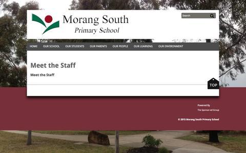 Screenshot of Team Page morangsouthps.vic.edu.au - Meet the Staff - captured May 4, 2016