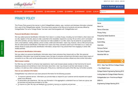 Screenshot of Privacy Page collegekhabar.com - Privacy Policy- College Khabar - Engineering Placement News, Student College Reviews, Company Reviews, College Events,Placement Papers, Student Interviews | College Khabar's Official Blog - captured Aug. 27, 2016