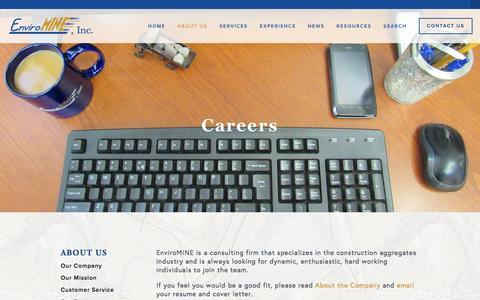 Screenshot of Jobs Page enviromineinc.com - Careers — EnviroMINE, Inc. - captured July 14, 2016