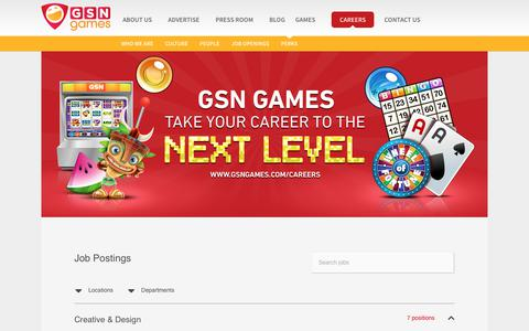 Screenshot of Jobs Page gsngames.com - Careers - GSN Games - captured July 9, 2019