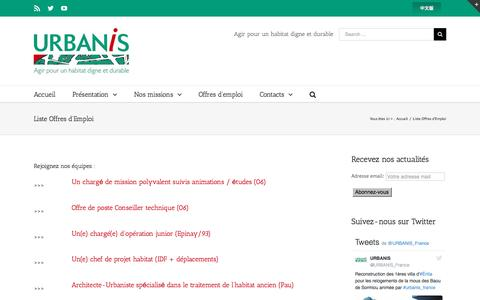 Screenshot of Jobs Page urbanis.fr - Urbanis -   Liste Offres d'Emploi - captured Nov. 19, 2016