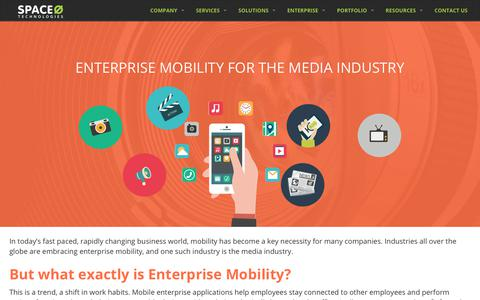 Screenshot of Press Page spaceotechnologies.com - Enterprise Mobility for the Media Industry :: Mobility for Media Industry - captured May 2, 2018