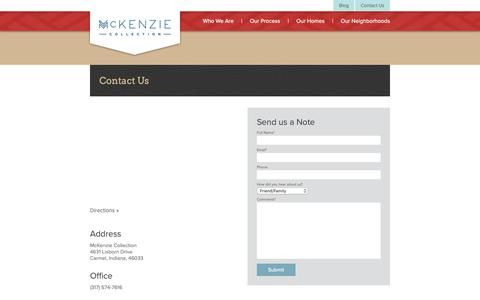 Screenshot of Contact Page mckenziecollection.com - Contact Us | McKenzie Collection - captured Nov. 12, 2018