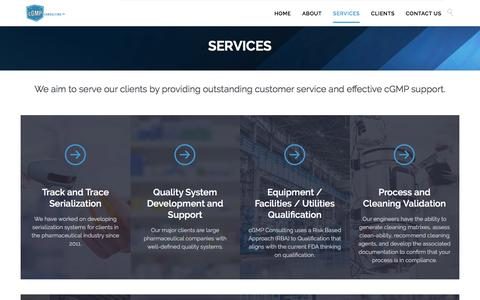 Screenshot of Services Page cgmpconsulting.com - SERVICES - cGMP Consulting Inc. - captured Nov. 15, 2016