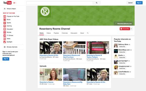 Screenshot of YouTube Page youtube.com - Rosenberry Rooms Channel  - YouTube - captured Oct. 26, 2014